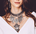 Fashion Luxury Crystal Chunky Chain Rivets Tassel Bib Collar Choker Maxi Vintage Metal Wedding Bride Jewelry Sets