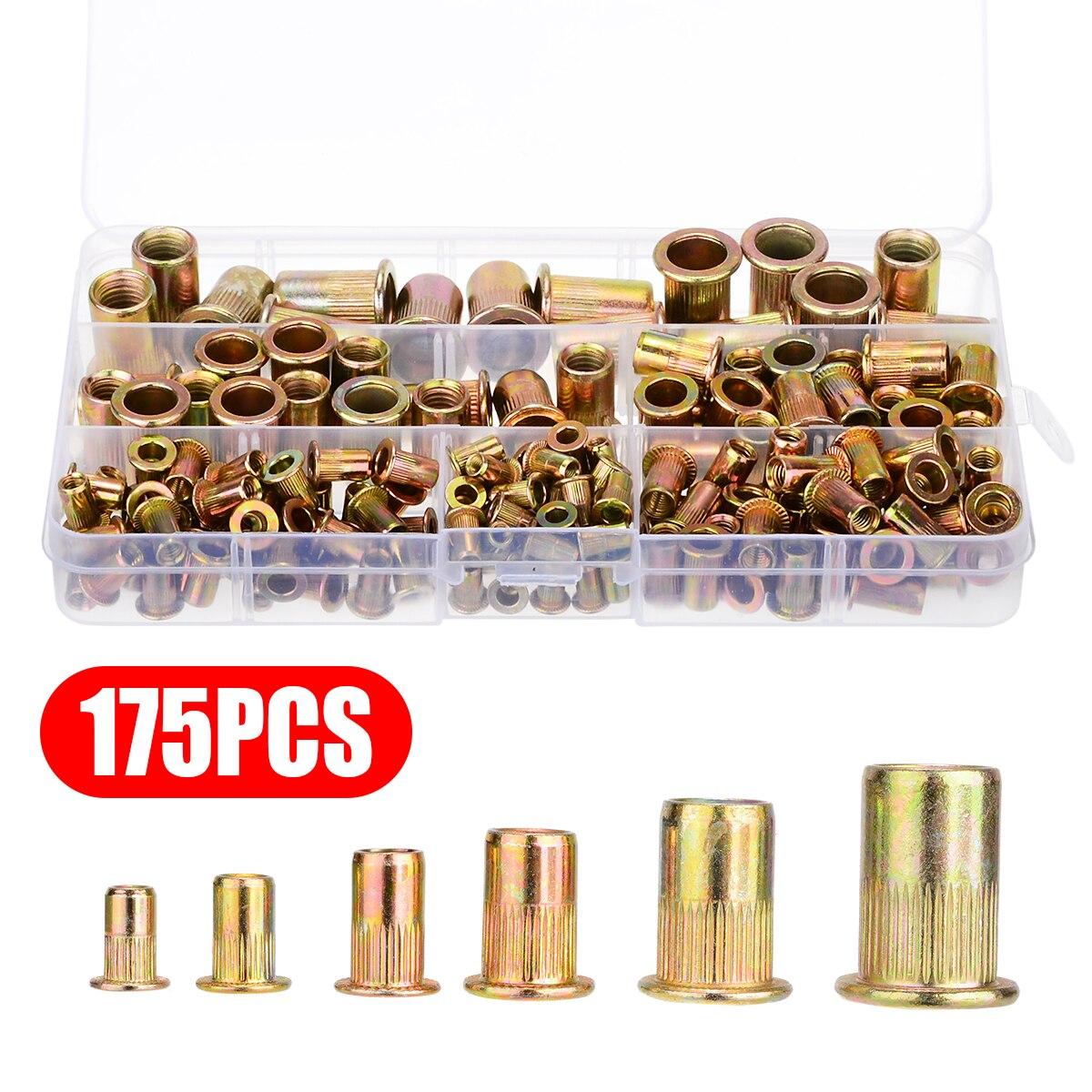 New 175pcs kit M3 M4 M5 M6 M8 M10 Zinc Plated Carbon Steel Nuts Rivnut Flat Head Threaded Rivet Insert Nutsert Cap Rivet Nut in Nuts from Home Improvement