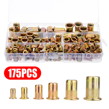 New 175pcs/kit M3 M4 M5 M6 M8 M10 Zinc Plated Carbon Steel Nuts Rivnut Flat Head Threaded Rivet Insert Nutsert Cap Rivet Nut