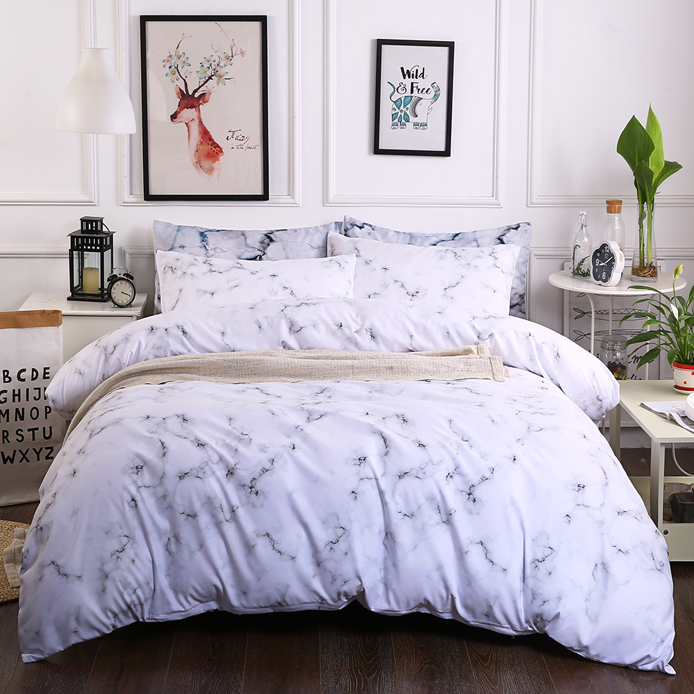 Cilected Marble White Grey Geometric Printed Duvet Cover