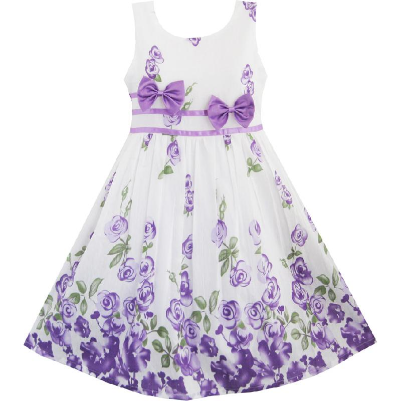 Girls Dress Purple Rose Flower Double Bow Tie Party Kids Sundress 2018 Summer Princess Wedding Dresses Size 4-12