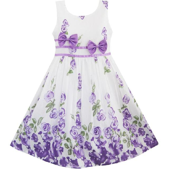 b8c5d0ce66909 Girls Dress Purple Rose Flower Double Bow Tie Party Kids Sundress 2018  Summer Princess Wedding Dresses