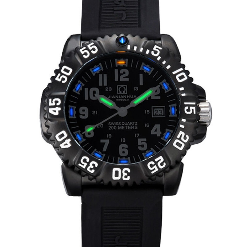 Carnival Mens Sport Military Tritium Luminous 50m Waterproof Slicone Watchband Quartz Diving Watch - black Bezel black Dial