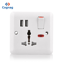 Cognag White multi power plug socket 220v universal wall 2 USB port bakelite panel