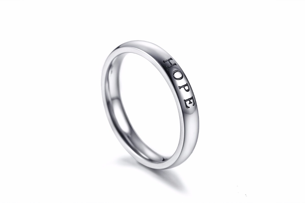 CAR27 HOPE words ring single and fashion women and man 925 silver ring for women birthday gift