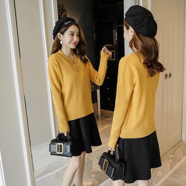 2a40c5e38bdb Осень Зима Одежда для беременных Новая мода v-образным вырезом свитер +  юбка из двух