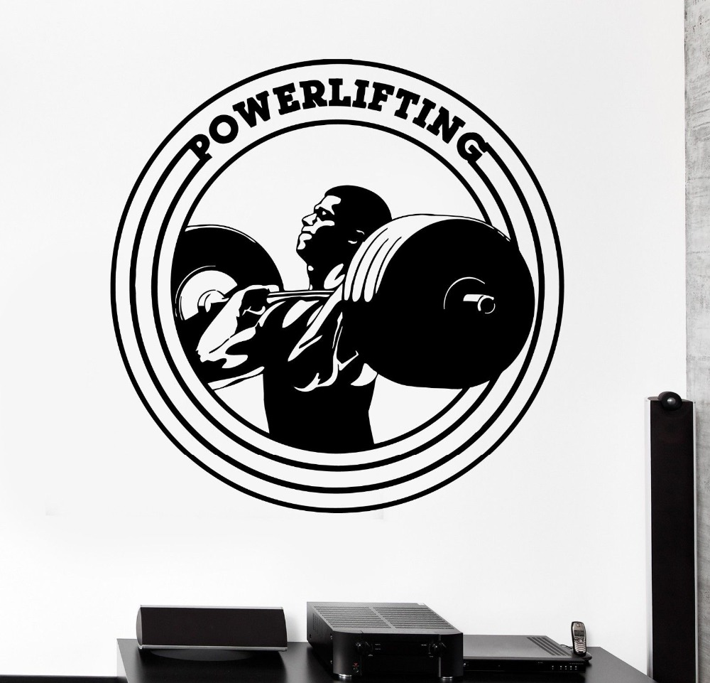 High Quality Fitness Gym Wall Stickers Sports Powerlifing Bodybuilding Vinyl Decals Home Sticker Living Room Decor
