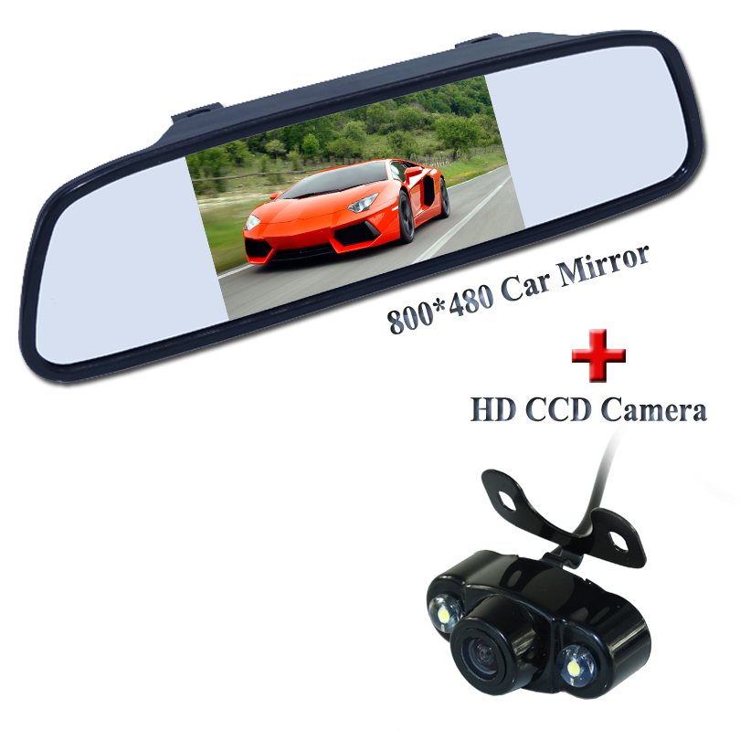 Wire shockproof car rear 5 car screen mirror wire +suto car parking camera for universal car factory selling 2 lights