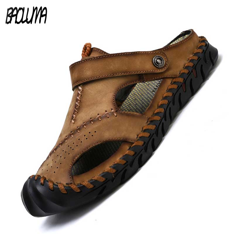 Men Sandals High Quality Leather Summer Men Slippers Roman Designer Style Men Beach Sandals Soft Comfortable Man Outdoors Shoes