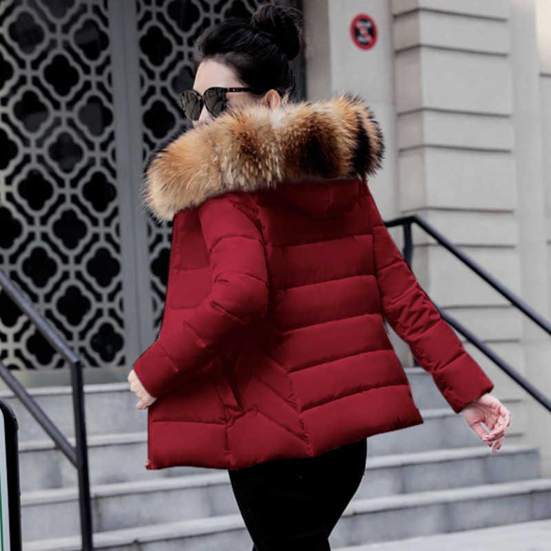 Artı boyutu 5XL Kadın Ceket ve Ceket Sonbahar Kürk Yaka Kapşonlu Pamuk Yastıklı Kış Ceket Kadın Kısa Dış Giyim Temel ceket