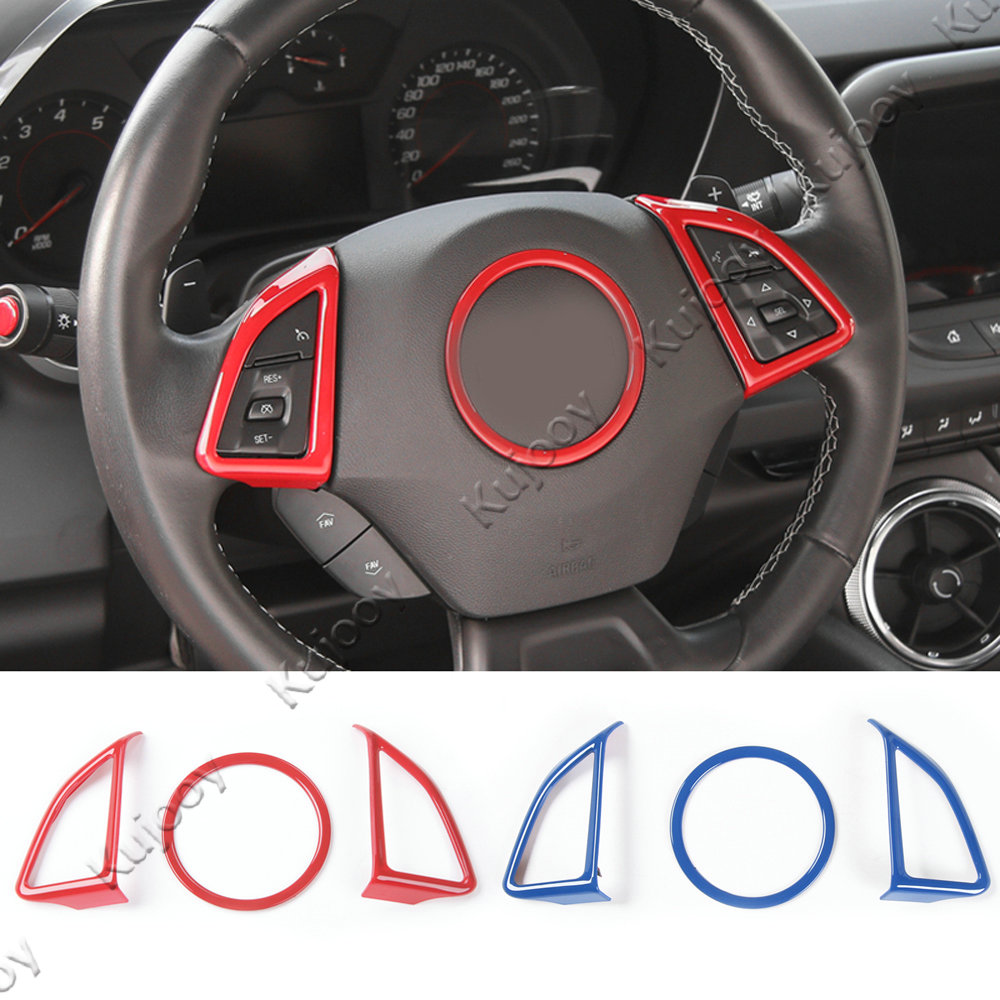 3pcs Carbon Fiber Grain ABS Steering Wheel Button Cover Frame Ring Trim Decor For Chevrolet Camaro 2017+