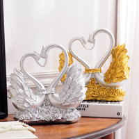 High end European wedding gift bestie Swan ornaments decorations living room TV cabinet resin crafts
