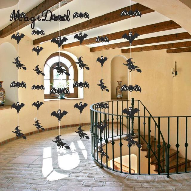 Magideal Funny 36pcs Home Restaurant Ceiling Window Party Decor Orange Pumpkin Black Skull Head Bat Witch Ghost