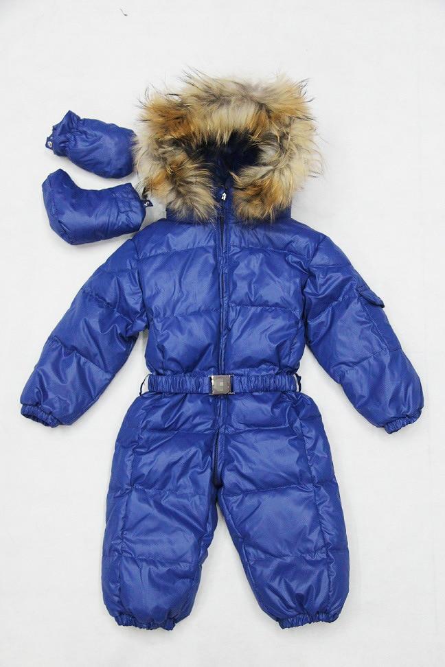 Winter Newborn Down Bodysuits Baby Down Bodysuit Turtleneck Outerwear Boys Natural Fur Jumpsuits Girls Winter Jacket with Boots