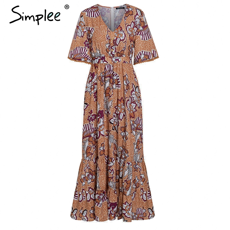 CUERLY Vintage boho floral print women dress Elegant short sleeve high waist summer dress Sexy v neck long maxi dress vestidos in Dresses from Women 39 s Clothing