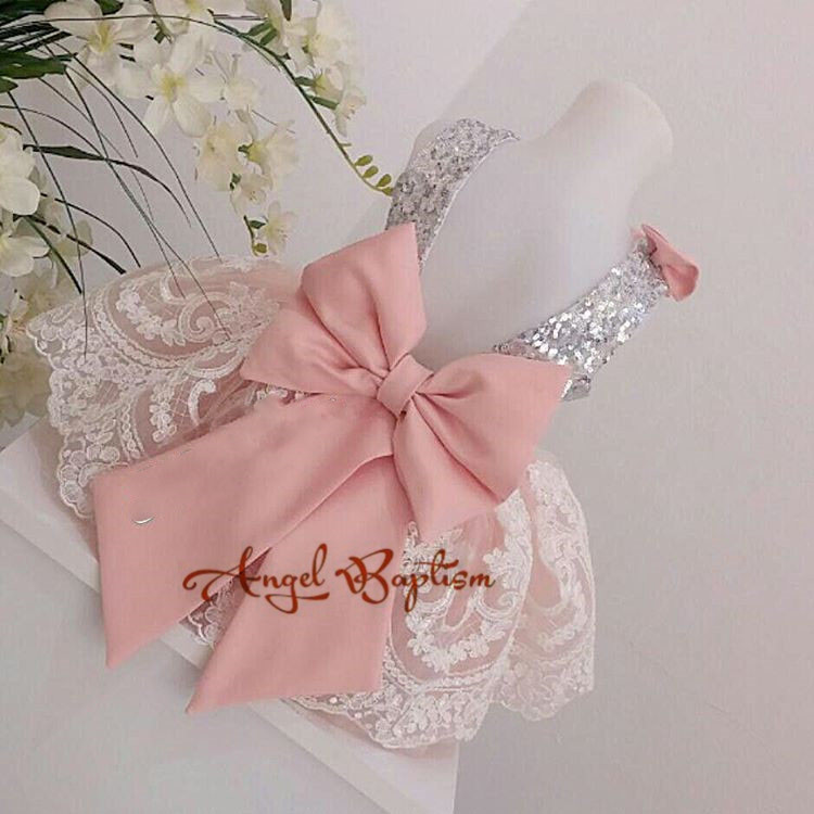 2017 cute sliver sequin toddler pageant dress backless lace appliques with bow girls baptism dresses thanksgiving party gown with logo sliver