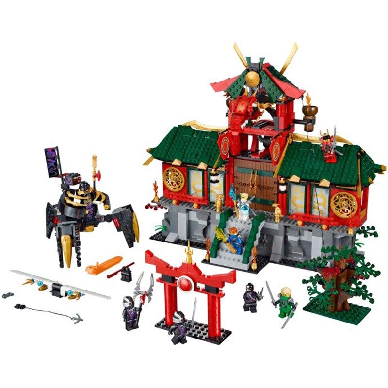 Bitwa Ninja miasto kompatybilny z Legoing Ninja 70728 modelu budynku bloki 1223 Pcs cegieł chłopiec urodziny prezenty zabawki dla dzieci w Klocki od Zabawki i hobby na  Grupa 1