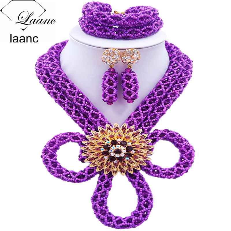 Laanc Purple African Beads Jewelry Set 2017 Crystal Nigerian Wedding Necklace Bridal Jewelry Sets HXLK002Laanc Purple African Beads Jewelry Set 2017 Crystal Nigerian Wedding Necklace Bridal Jewelry Sets HXLK002
