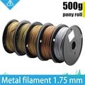 ¡Caliente! 3D filamento metálico de impresora de 500g, 30% de filamentos de contenido de Metal-latón/bronce/cobre/aluminio, 1,75