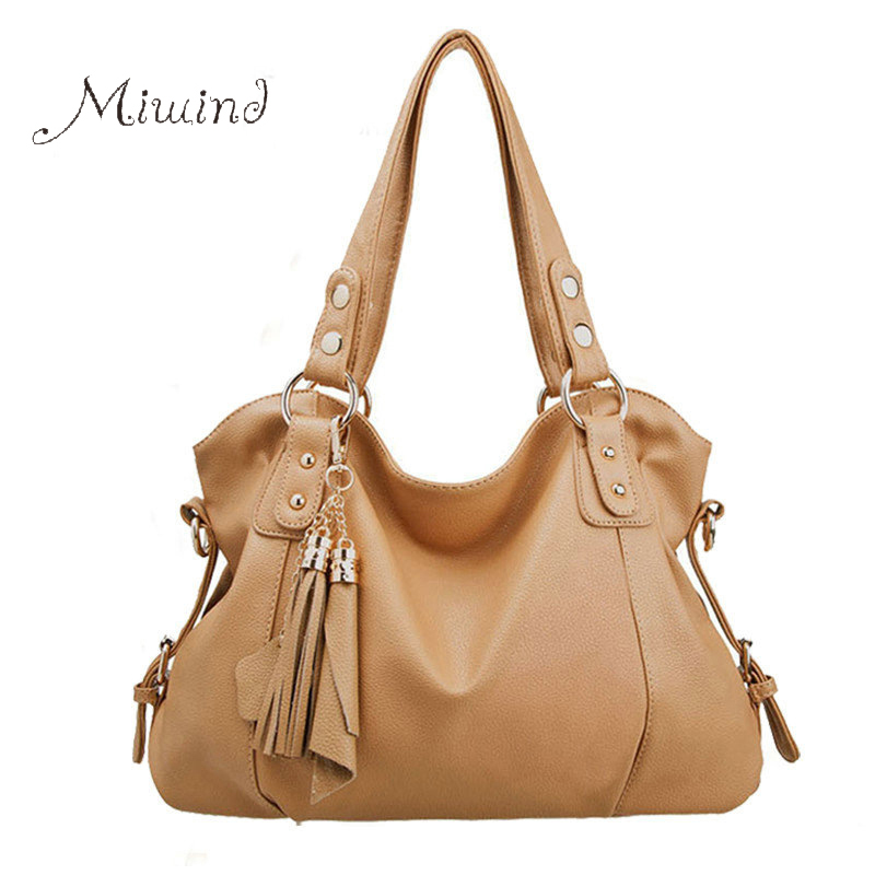 Fashion PU Leather Bag Women Handbags Cowhide Tassel Bag Portable  Messenger Ba