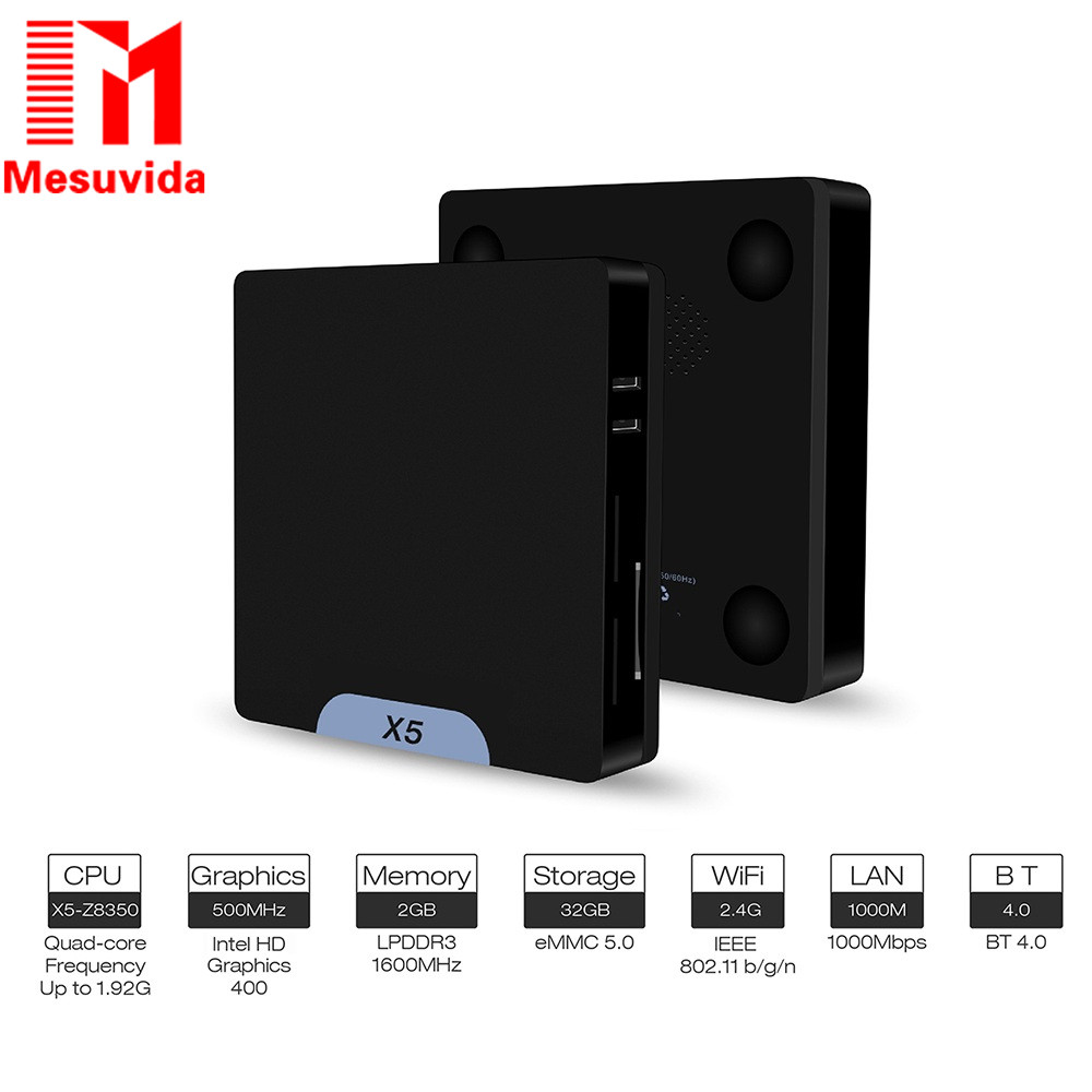 Mesuvida X5 Mini PC Intel Atom  Z8350 Windows 10 / Android 5.1 dual system 2GB RAM  32GB ROM   Lan 1000m set-top box H.264 3D 4K embedded system singel board computer mainboard with onboard 2gb ram lpt vga dual lan