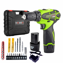 12v Hand Cordless Screwdriver Rechargeable Drill Mini Electric Drill Two Lithium Battery Tools Plastic Case Accessory цена