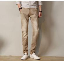 Джинсы мужчины 2017 мужские джинсы эластичный пояс тощий мужские джинсы длинные slim fit повседневные брюки джинсовые брюки мужчины 28-38 36