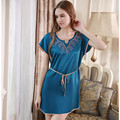 Plus Size Pure Silk Nighty Dress Brand 100% Mulberry Silk  Short-sleeve Nightgowns M/L/XL Free Shipping