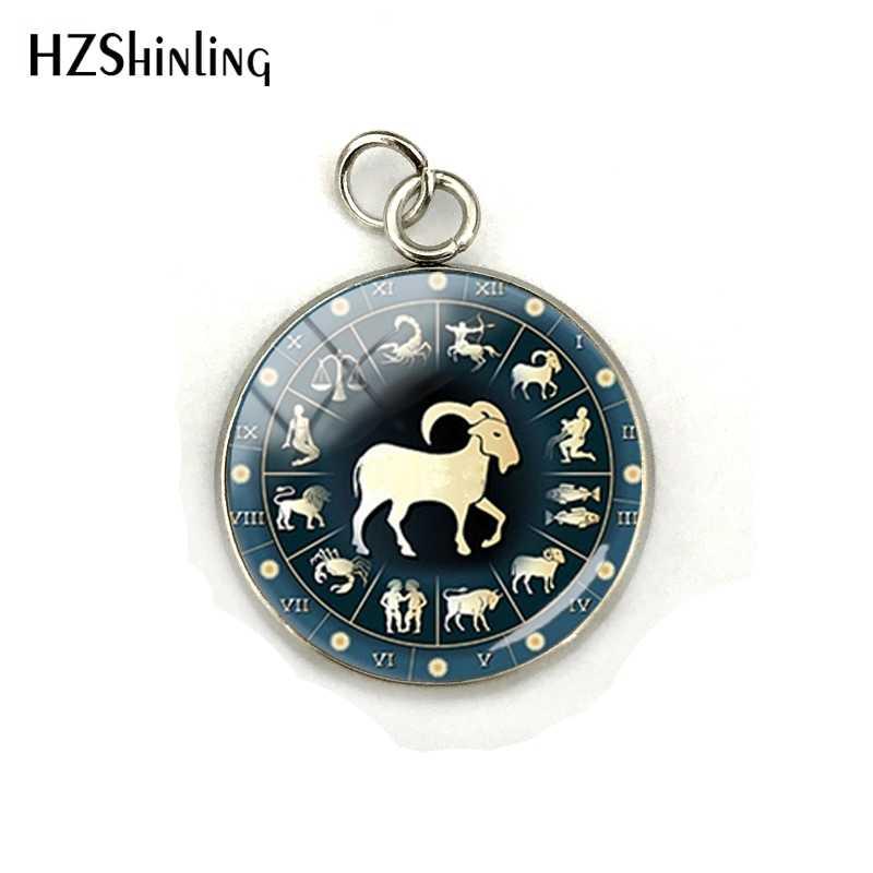Zodíaco leão símbolo pingente peixes azul peixes zodiac libra astrologia sagitário horóscopo escorpião aço inoxidável chapeado encantos