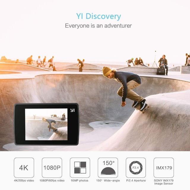 YI Discovery Action Camera 4K 20fps Sports Cam 8MP 16MP with 2.0 Touchscreen Built-in Wi-Fi 150 Degree Ultra Wide Angle 1