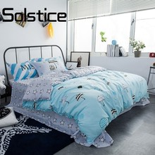 Solstice Home Textile Cute Umbrellas Blue Cartoon Style Dance Music New Cotton Bedlinens Duvet Cover Sheet Pillow Cases