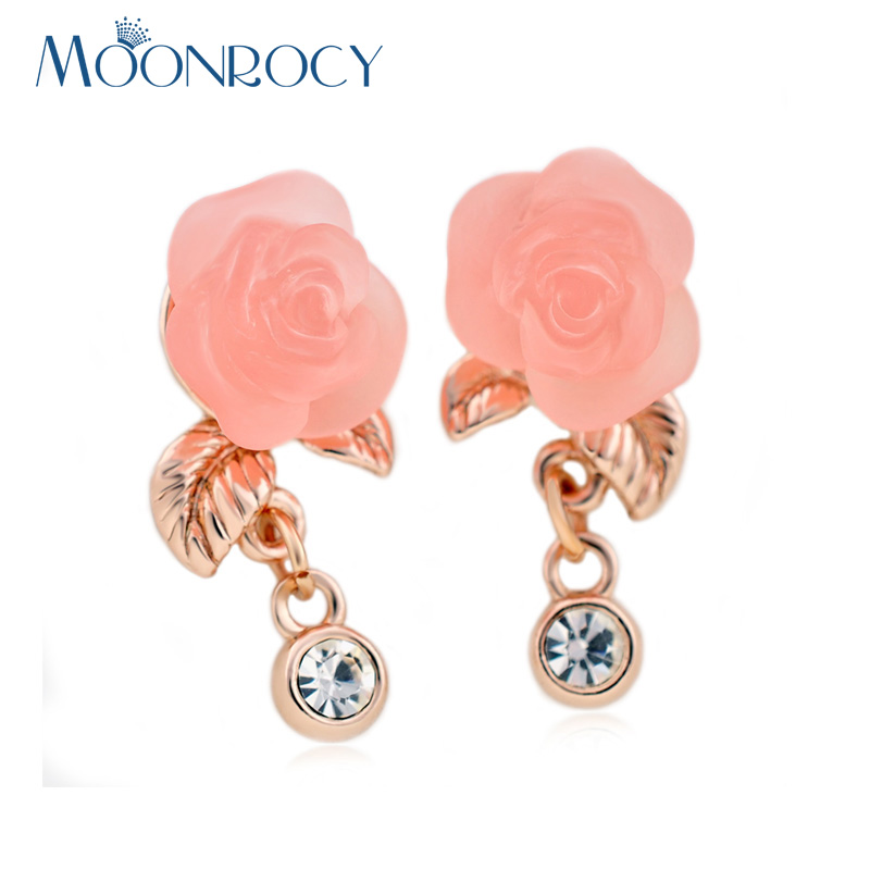 MOONROCY Free Shippinng Rose Gold Color CZ Crystal Fashion Jewelry
