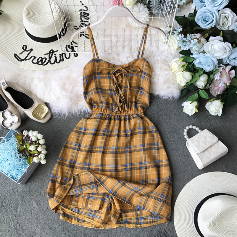 Nicemix Summer Bohemian Beach Mini Shorts Dress Women Casual Bandage Backless Plaid Print Sleeveless Shirt Short Dresses Female