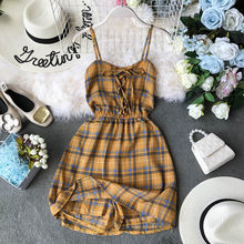 NiceMix Summer Bohemian Beach Mini Shorts Women rompe Casual Bandage Backless Plaid Print Sleeveless Shirt Short jumpsuit Female(China)