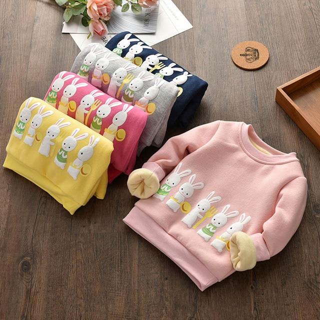 Кролик Свитер для девочек осень красивая одежда для девочек теплые флисовые круглым вырезом Толстовки для женщин новый пуловер для детей От 2 до 7 лет