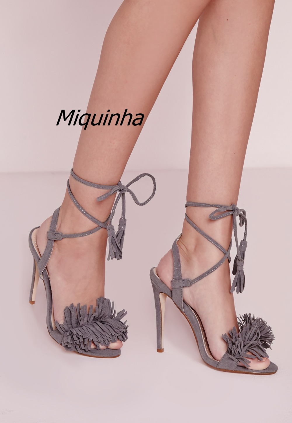 Classy Grey Suede Fringe Peep Toe Lace Up Sandals Women Sexy Slingback Cut-out Stiletto Heel Shoes Sweet Tassel Dress Sandals young girl s black suede open toe lace up ankle sandal boots stiletto heel fringe dress shoes braid embellished party shoes