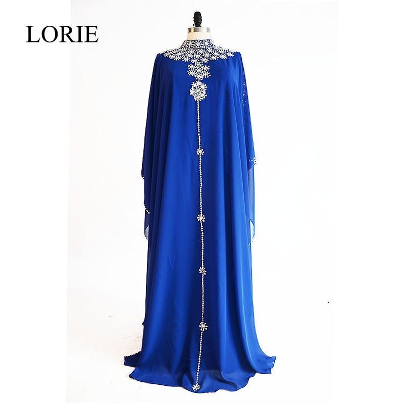 Elegant Muslim Long Evening Dresses Plus Size LORIE 2018 High Neck Crystal Beaded Women Formal Prom Party Dresses Long Sleeve
