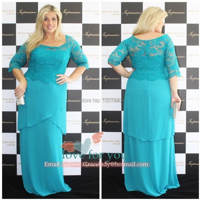 Glamorous Blue Chiffon Plus size Mother of the Bride Lace Dresses ...