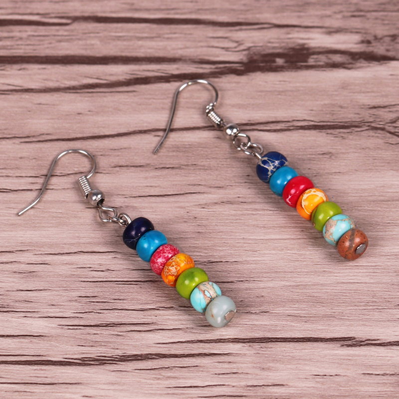 Chakra Earrings Natural Emperor Stone Earrings Colorful Yoga Earrings Energy Healing reiki Jewelry meditation Earrings