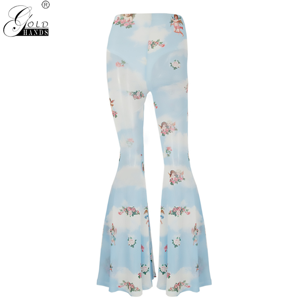 Gold Hands Women Fashion Summer New Cupid Flared Pants Sexy Mesh Stitching Wide Leg Pants Angel Print Transpardent Casual Pants
