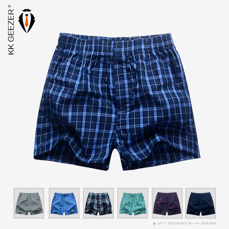 Male Underwear Mens Boxers Plaid Underpants Cotton Shorts Striped Panties Homewear Loose Classic High Quality Sleep Breathable