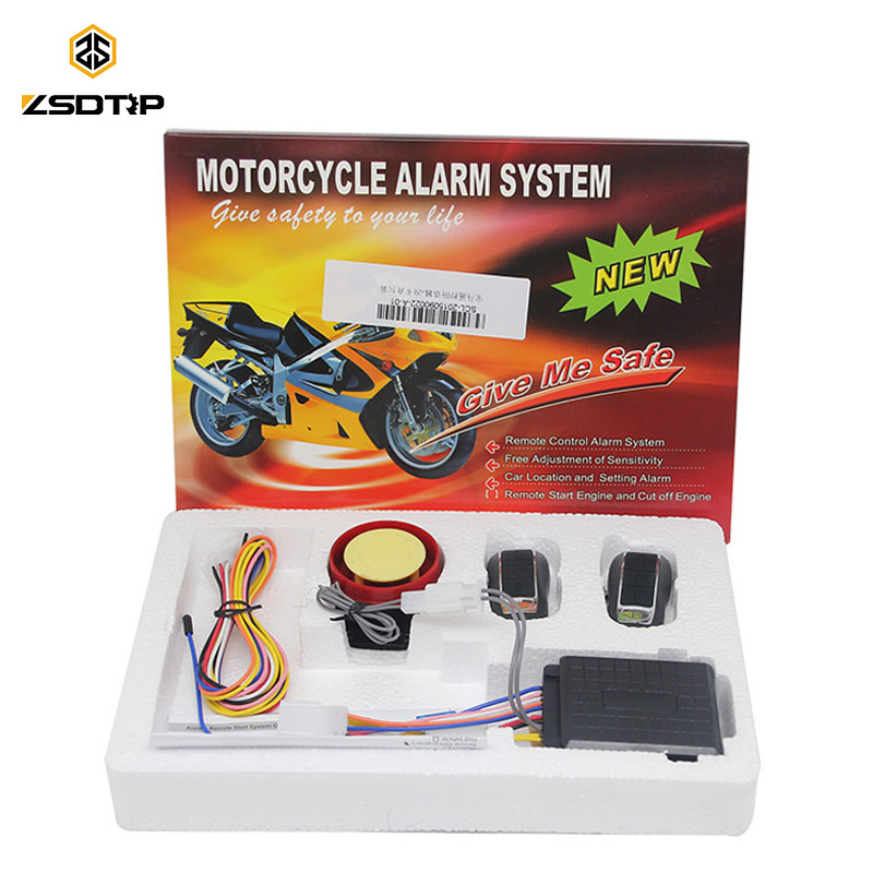 ZSDTRP 12V Burglar Alarm Motorcycle Bike Anti-theft Security Alarm System Remote Control Engine Start Anti-line Protect Parts