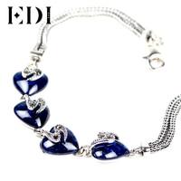 EDI Sterling Zilveren 925 4 Hart Natuurlijke Edelsteen vrouwen Armband Thaise Zilveren Retro Fijne Sieraden Voor Vrouw Gift