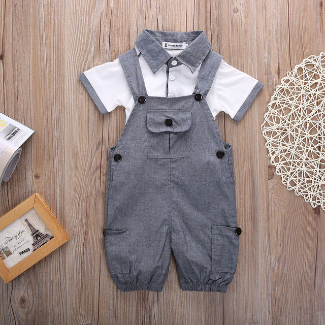 Newborn Baby Boys Shirt +suspender Pants Gentleman Cotton baby clothing Sets Summer Toddler Infant Boy Outifits Set