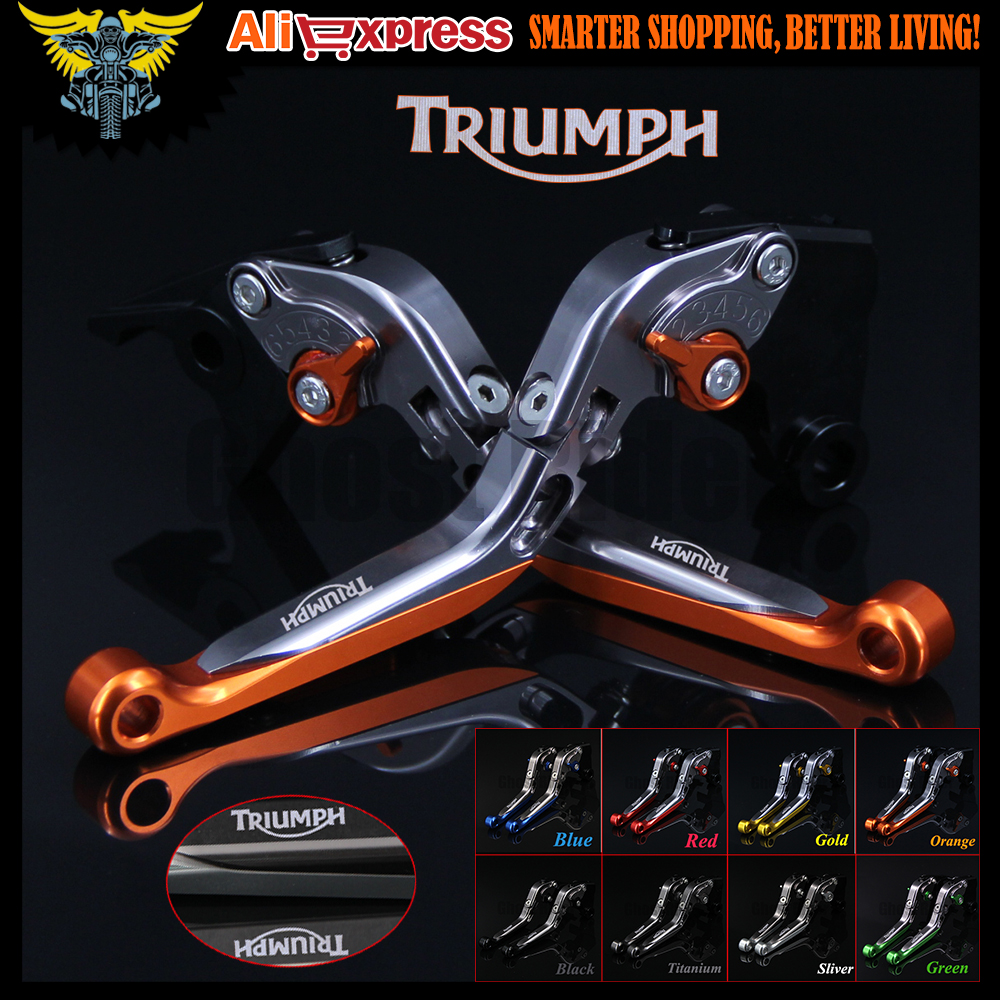 CNC Adjustable Folding Motorcycle Brake Clutch Levers For Triumph 675 STREET TRIPLE R/RX 2009 2010 2011 2012 2013 2014 2015 2016 orange titanium folding cnc motorcycle brake clutch levers for kawasaki z1000 2007 2008 2009 2010 2011 2012 2013 2014 2015 2016