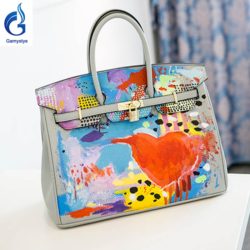 White Graffiti handbags Genuine Leather women famous  Messenger Bag Hand Painted Custom painting ladies totes handle clutch YG 2016 new cute smile cartoon eyes graffiti pu leather yellow handbags women s luxury bags hand painted punk painting women totes
