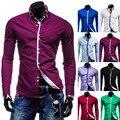 Nuevo 2014 primavera fresca moda 8 Color Mens camisas de vestir Casual Slim Fit de manga larga sociales Camisa Masculina M-XXL