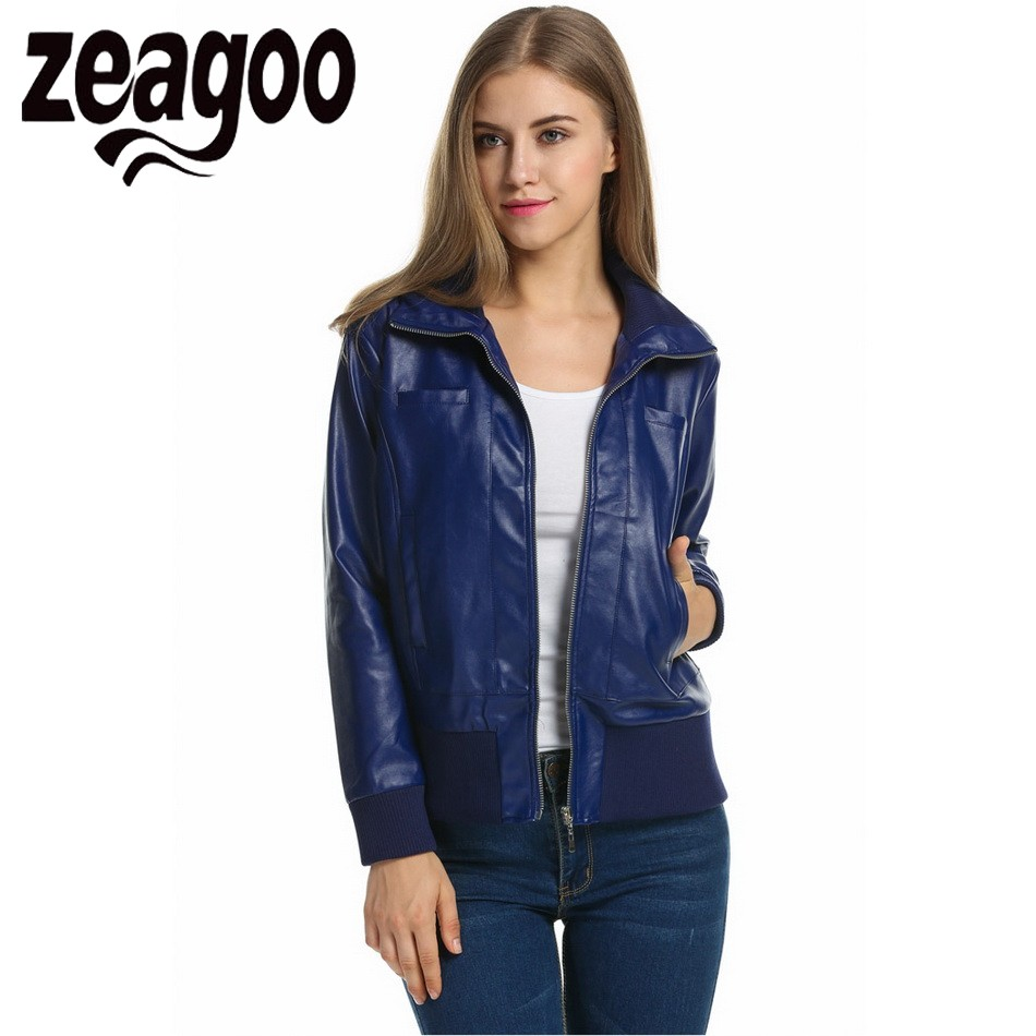 Zeagoo Faux Leather Jacket Women Otoño prendas de Vestir Exteriores de la Chaque