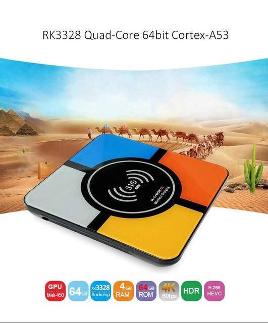 S10 плюс Android 9,0 Smart ТВ коробка Беспроводной быстрой зарядки RK3328 Quad core 4 Гб 64 GB Wi-Fi 4 K H.265 USB3.0 Smart ТВ телеприставке 2