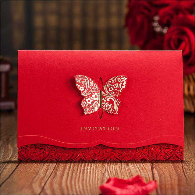 gold butterfly laser cut wedding invitation card free personalized printing envelope red bridal shower invitations